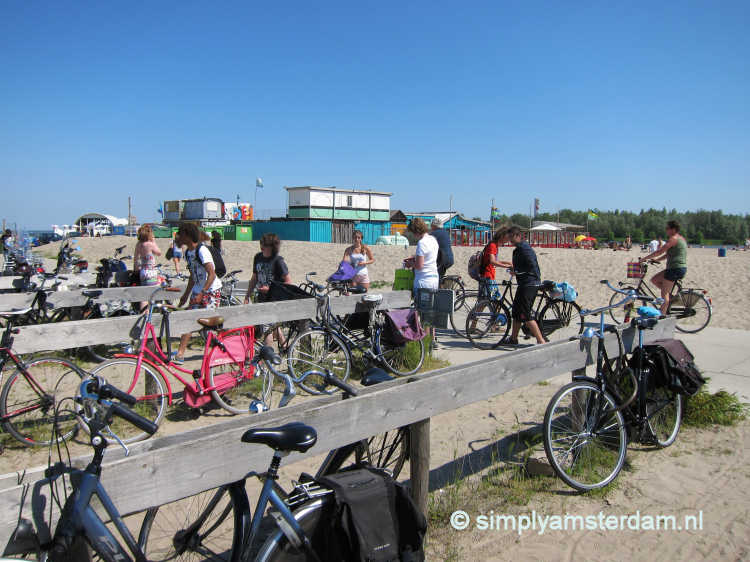Bicycle parking at Blijburg beach