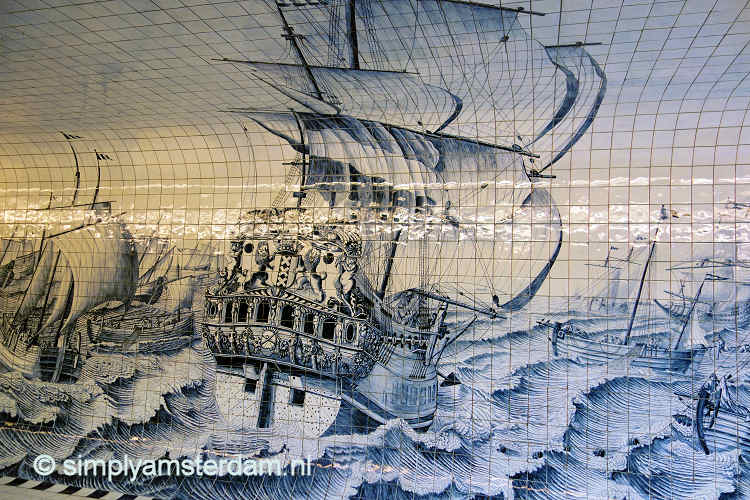Bicycle tunnel Amsterdam Central: warship after Cornelis Bouwmeester painting