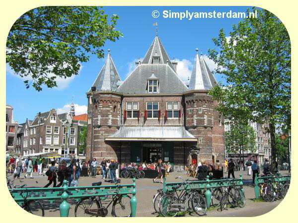 Waag tower on Amsterdam Nieuwmarkt square shored up