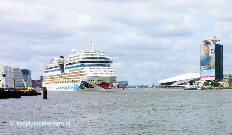 Chruise ship arrival in Amsterdam harbour