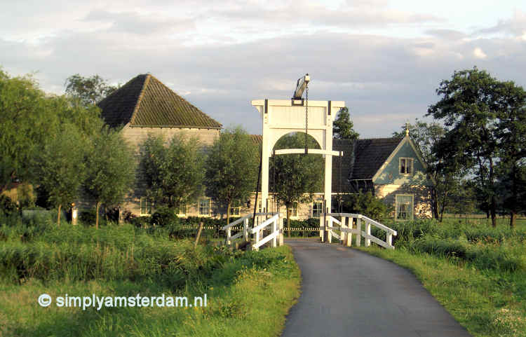 Drawbridge and farm in Amsterdam