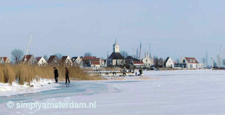Winter landscape at dike village Durgerdam