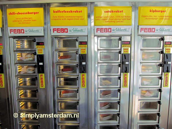 Febo automat with various fast food items