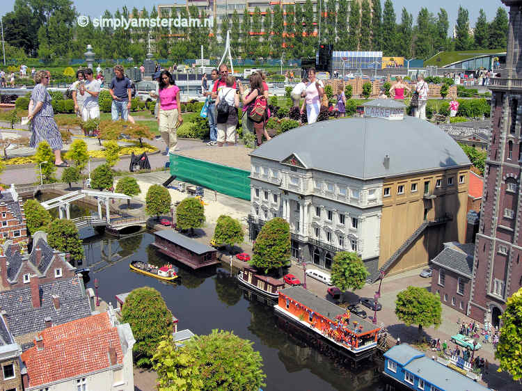 Madurodam - Carré theatre, river Amstel, houseboats, Skinny Bridge