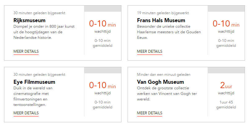 Real-time Waiting line radar published for Amsterdam attractions