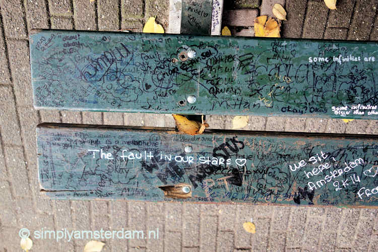 The Fault In Our Stars bench with graffiti